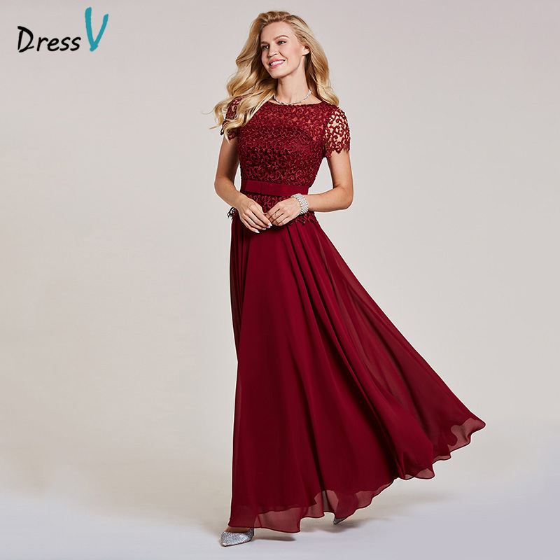 Dressv burgundy   evening     dress   cheap scoop neck a line short sleeves bowknot wedding party formal lace   evening     dresses
