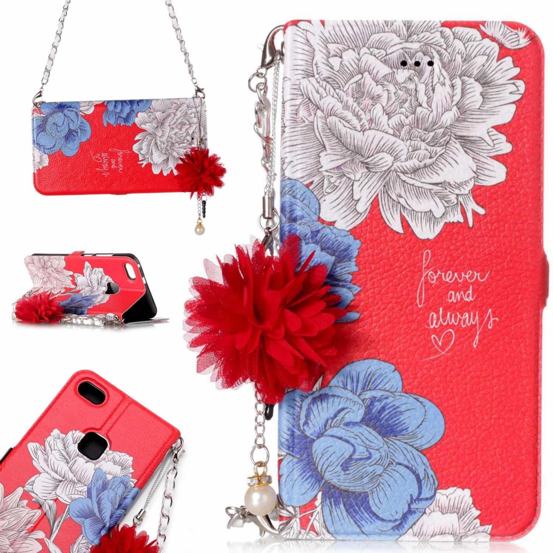 Flip Leather <font><b>Craft</b></font> Flower Phone Case for Huawei P10 Lite Floral Strap Bracelets Protection Cover