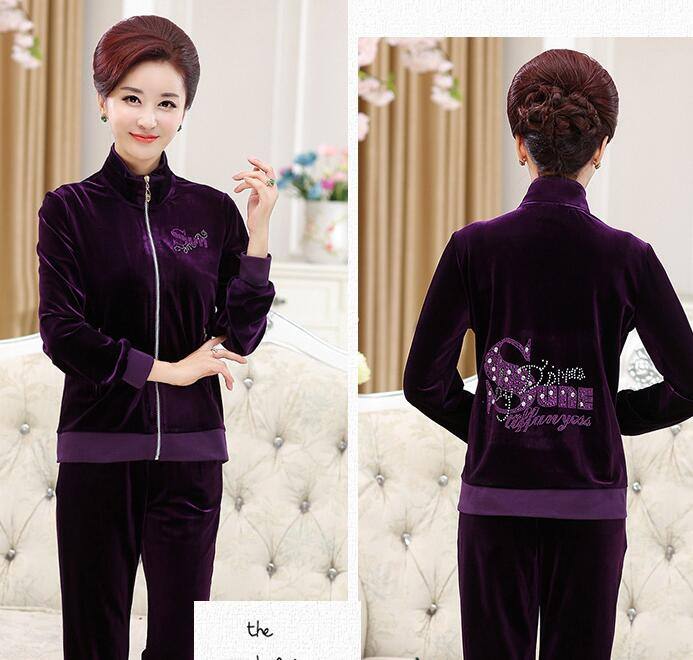 New 2017 fashion hot sale middle age women's pleuche big yards velvet high quality top grade two piece set Mother Leisure suit 1