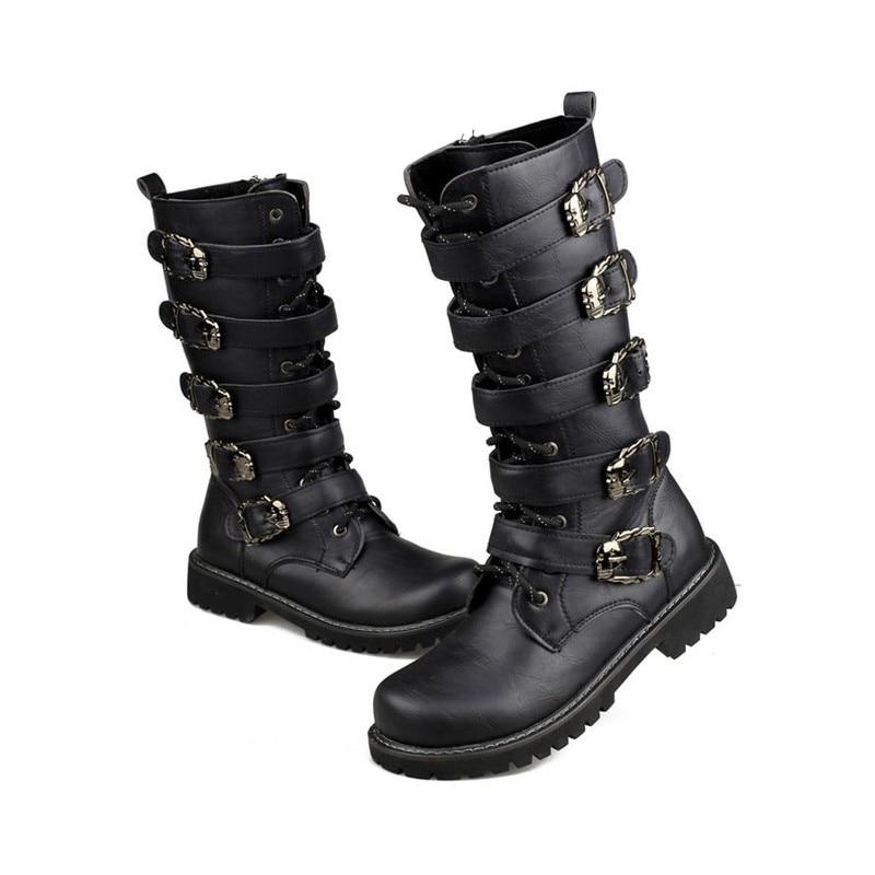 € 31.02 20% de DESCUENTO BabeBcBd botas militares de combate altas botas de Metal con hebilla Punk de media pantorrilla para hombre Botas de