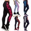 Горячие Продажа Мода Женщин Письма Печатаются Активные Леггинсы для Женщин 2017 Новый хлопок Брюки дамы Тренировки Фитнес Брюки