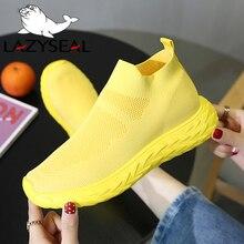 LazySeal New Air Mesh Women Platform Ankle Boots Shoes Woman