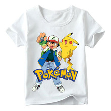 Baby Boys/Girls Ash with Pikachu Pokemon Go Cartoon Print T shirt Summer Children Casual Tops Kids Funny T-shirt 2019 Fashion