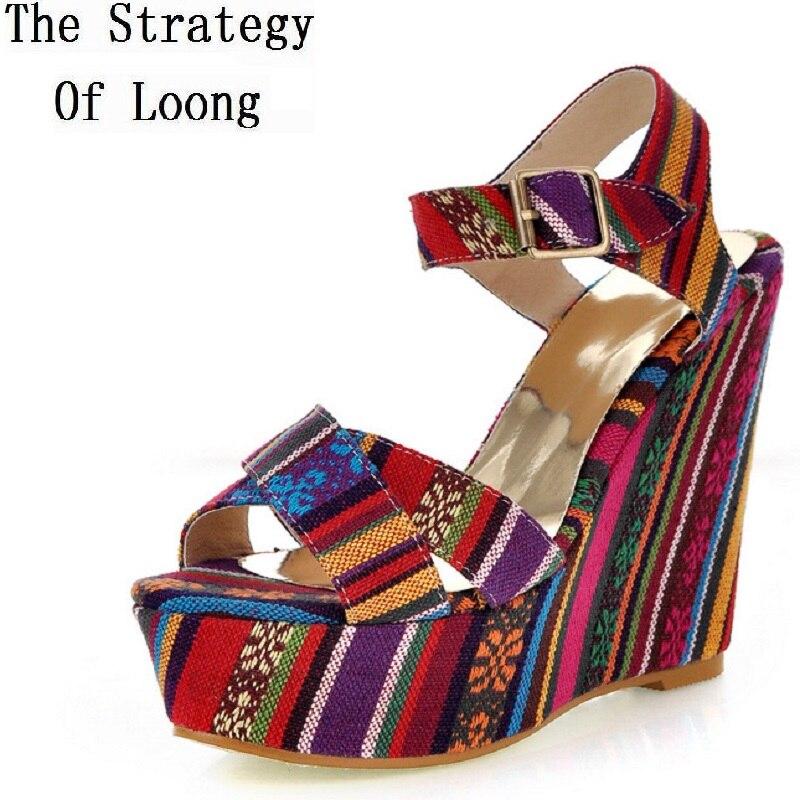 Summer Women Wedges Chunky Heel Platform National Style Peep Toe Ankle Wrap Sandals Gladiator Cross tied