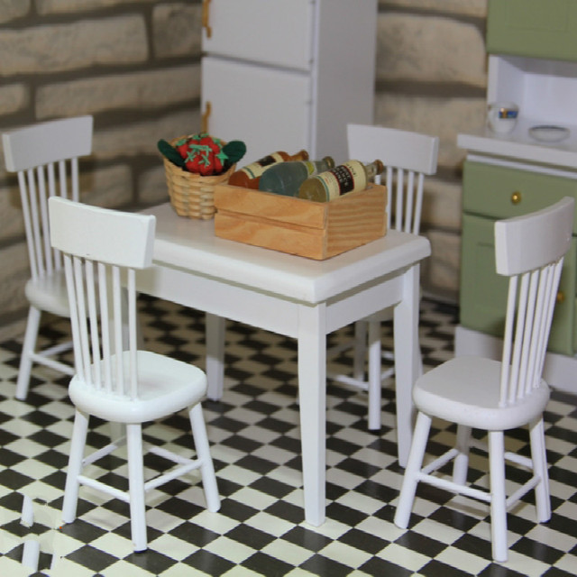 1:12 DOLLHOUSE Mini Furniture Kitchen Model 5 Piece Set White Table Chair  Bamboo Wire