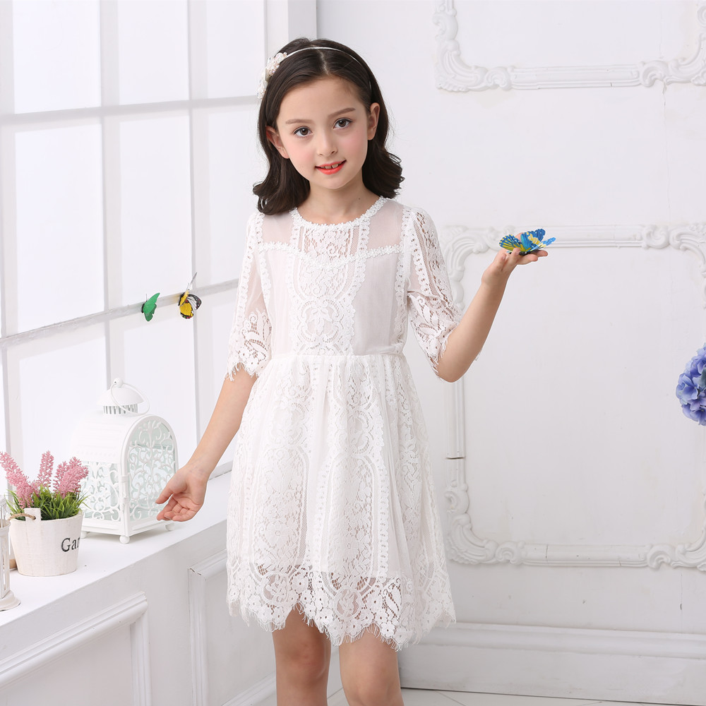 2017  Wedding Flower Girl white Lace mini Dress With Sweet Flower Baby Kids Princess Stage costume Prom Party 3/4 Sleeved Dress
