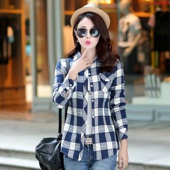 Flannel Long Sleeve Casual Women Blouses Shirt Ladies Plus Size Cotton Blusas Tops Blouse