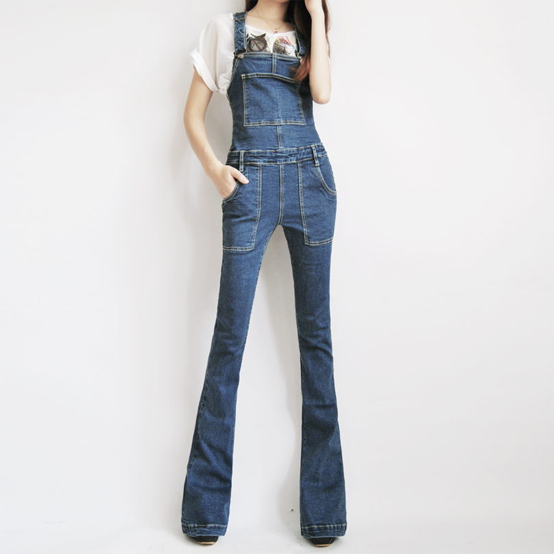 Free Shipping 2018 Boot Cut Jeans Plus Size 24-30 Pants For Tall Women Overalls Jumpsuit And Rompers Denim Trousers With Zipper