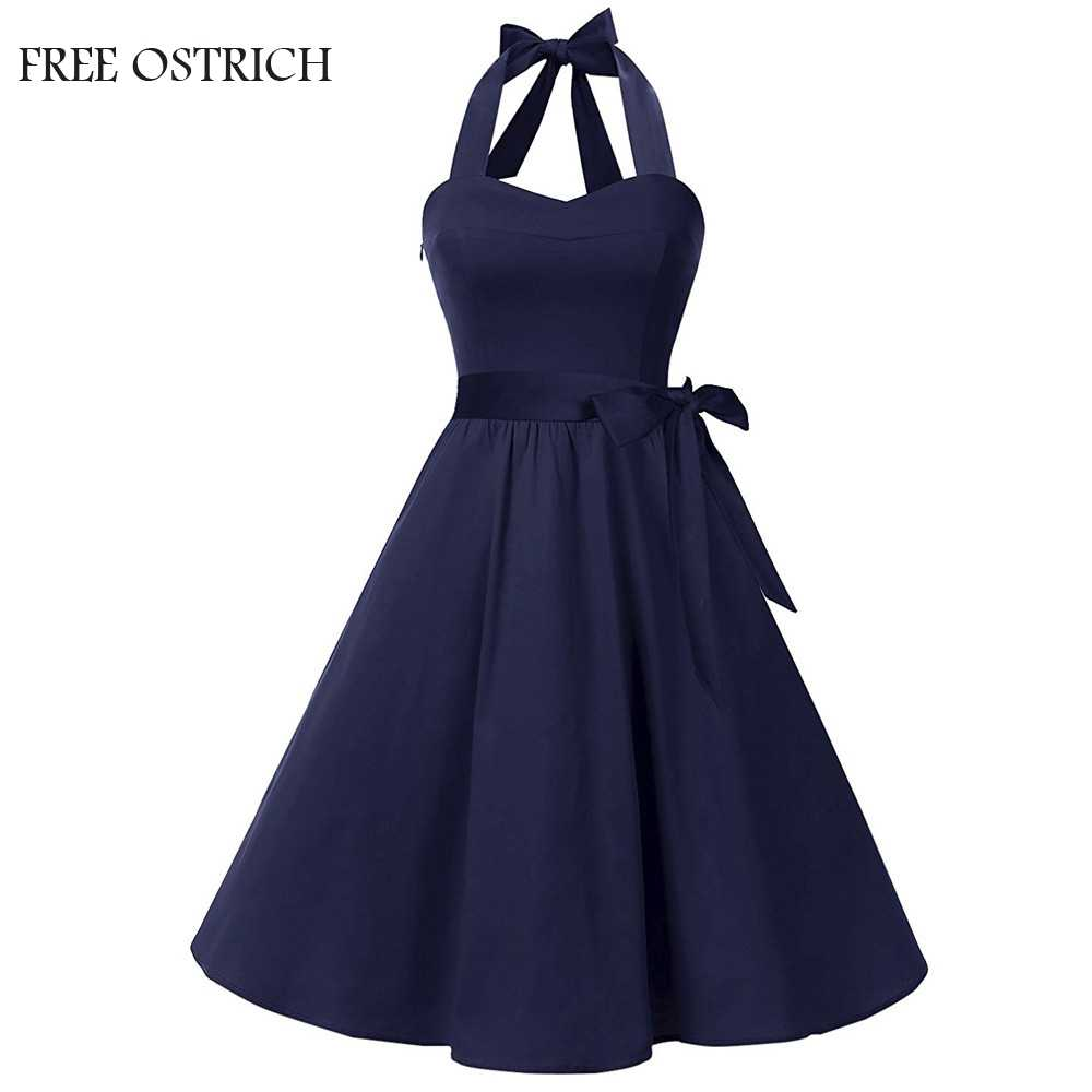 FREE OSTRICH Fashion Women Sleeveless Solid Dress Vintage Swing High-Waist Pleated Dress Casual Beach Cotton Apparel