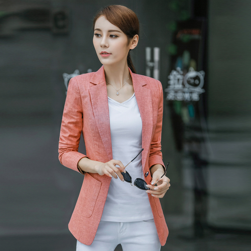 S-4XL New Women's Blazer Spring 2019 Fashion Classic Solid color Linen Cotton Small Blazers Coat Slim Outerwear Work Tops Female
