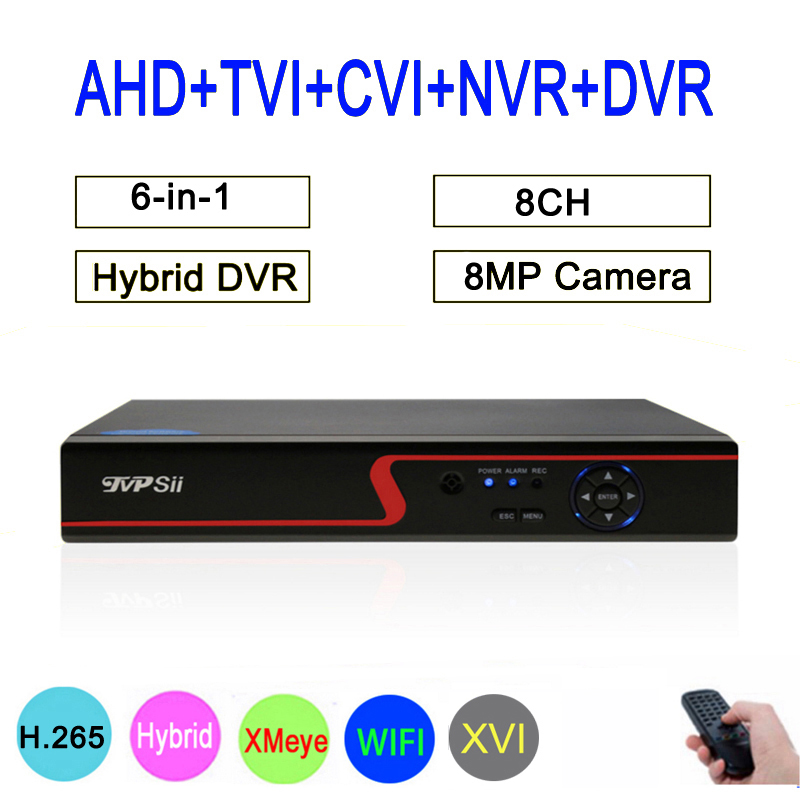Red Panel New Xmeye 8CH 5MP Hybrid Coaxial WIFI 5 In 1 TVI CVI NVR AHD CCTV DVR Surveillance Video Recorder Free Shipping