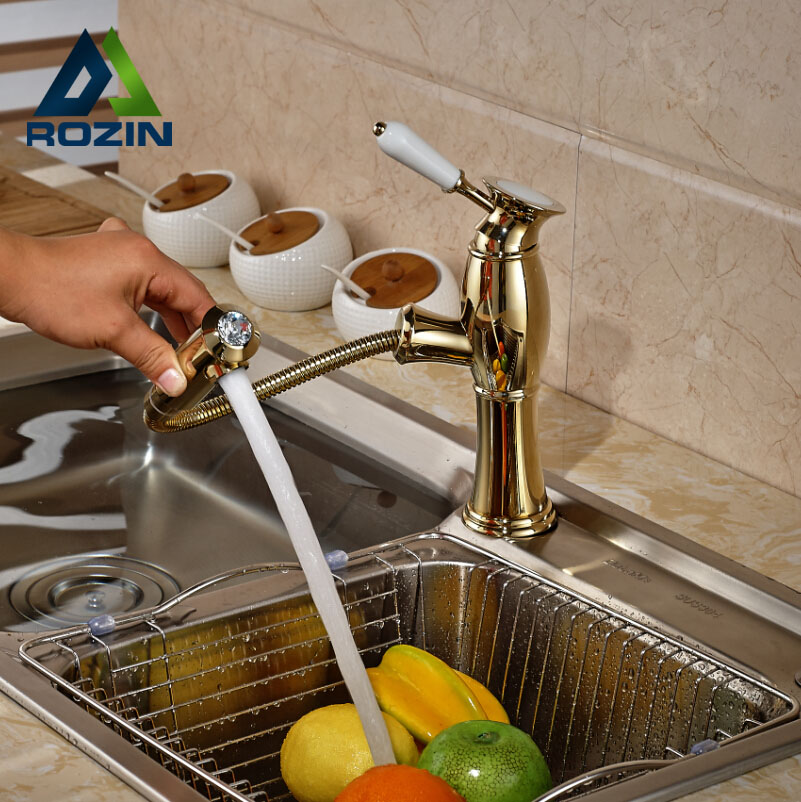 Good Quality Bathroom Kitchen Hot Cold Water Faucet Deck Mount Kitchen Mixer Taps Pull Out Sprayer