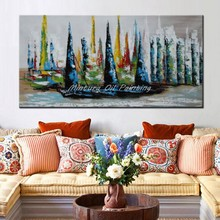 Mintura Hand Painted Modern Abstract Canvas Blue Oil Painting Wall Art Picture Living Room Bedroom Home Wall Decoration No Frame(China)