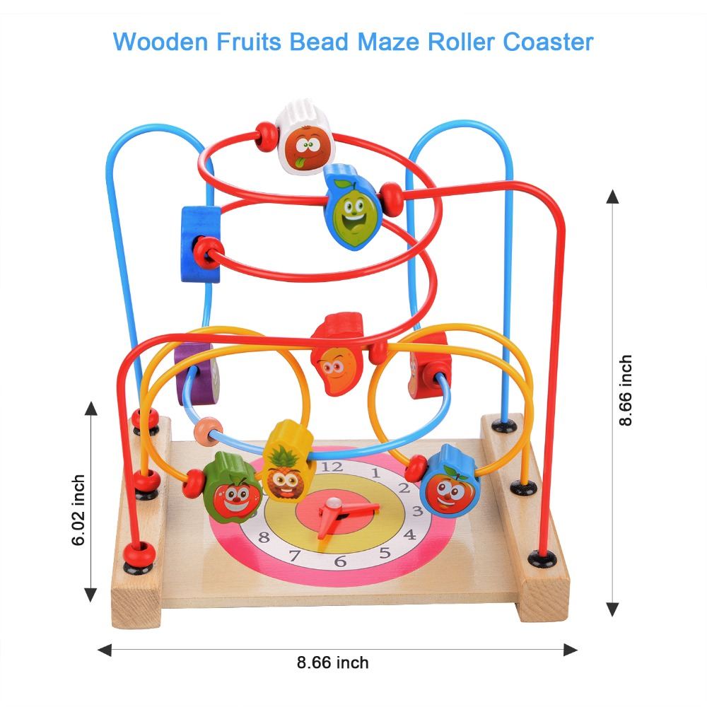 14 pièces/ensemble jouets en bois en trois dimensions puzzle rond cercles perle fil labyrinthe montagnes russes jouet ensemble enfant début jouets éducatifs