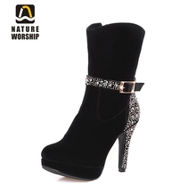 Nubuck leather shoes fashion metal buckle women boots crystal high heels platform ladies with short