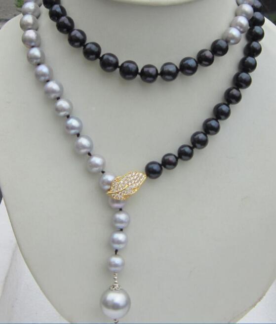 elegant 36 beautiful 10-11mm tahaitian black gray pearl necklaceelegant 36 beautiful 10-11mm tahaitian black gray pearl necklace