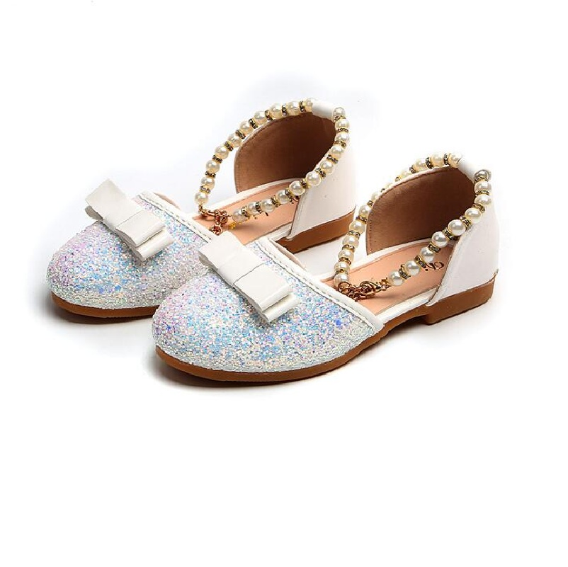 2018 Summer New Wedding Party Sweet Princess Leather Shoes White Pearl Single shoes Girl Kids Baby child Dancing Shoes 23