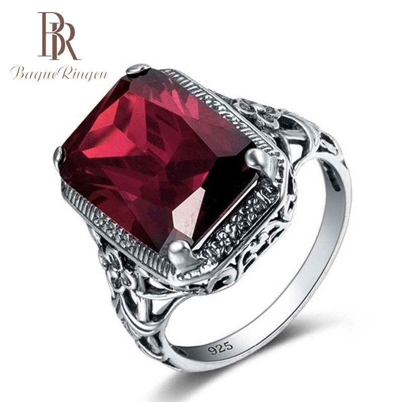 Ruby Rings 925-Jewlery-Ring Gifts Gemstone Rectangle Silver Vintage Women New-Fashion