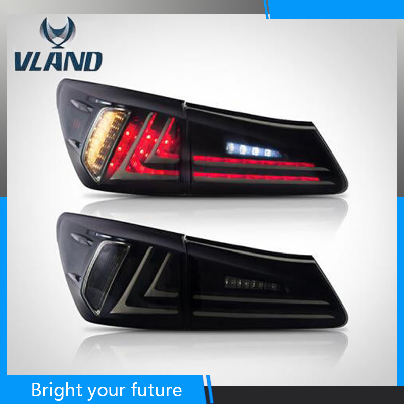 Car Rear Lamp For Lexus IS250 IS350 IS F LED Tail Lights 2006 2007 2008 2010 2012 Red and Black Lens with DRL+Reverse