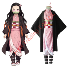 Anime Demon Slayer Kamado Nezuko Cosplay Costumes Kimetsu no Yaiba Women Pink Kimono Halloween Costumes for Women