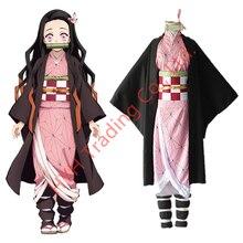Anime Demone Slayer Kamado Nezuko Cosplay Costumi Kimetsu no Yaiba Donne Rosa Kimono Costumi di Halloween per Le Donne