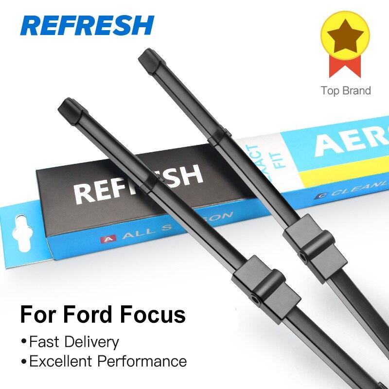 RAFRAÎCHIR Lames D'essuie-Glace pour Ford Focus Mk2/Mk3 Fit Côté Pin/Push Button Armes Modèle Année de 2004 à 2017 (Modèle International)