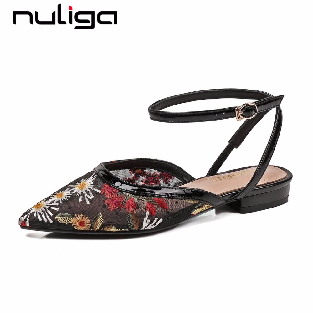 Nuliga mesh pointed toe buckel strap low heels flowers embroidery slingback woman pumps ethnic style classic casual shoes L18
