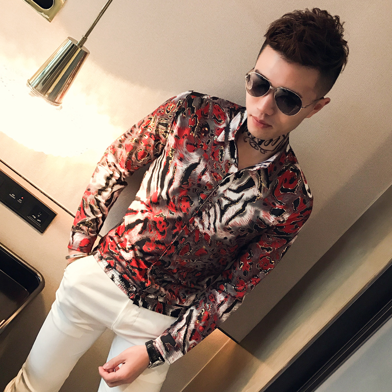 Bronzing Shirts Mens Social Club Outfits Slim Fit Fashion Men Shirts 2019 Korea Mens Casual Clothing Floral Printed Shirts 5