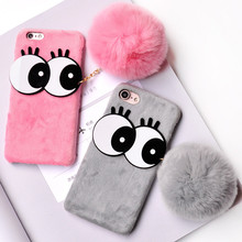 LANCASE Funda For iPhone 6s Case Winter Fur Rabbit 3D Cartoon Cute Hair Case for iPhone 6 7 8 Plus X Soft PC Cover for iPhone 6