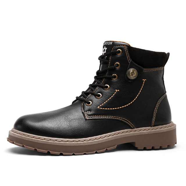 ZYYZYM Mens Boots Autumn Winter Pu Leather Motorcycle Boots Fashion Outdoor Ankle Work Boots Hot Sale