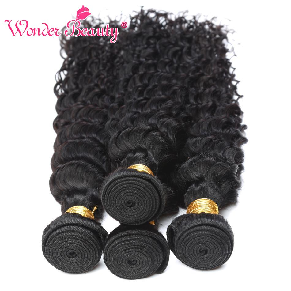 Wonder Beauty Raw Indian Deep Curly Weave Hair 100% Human Hair Bundles 4Pcs Non Remy Hair Extension 8-30inch Shipping Fast