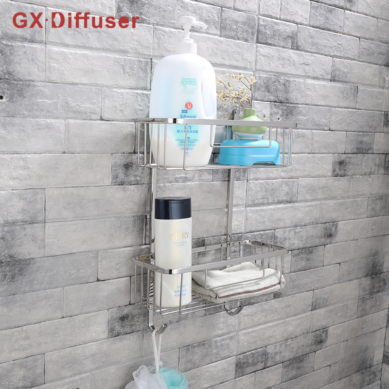 Shower Shelf Stainless Steel Multifunctional Shelf Bathroom Rack Shower Accessories Bath Caddy Holder GX Diffuser black bathroom shelves stainless steel 2 tier square shelf shower caddy storage shampoo basket kitchen corner shampoo holder