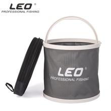 LEO Portable Folding Bucket Canvas Body+Plastic Bottom Camping Hiking Fishing Bucket Fishing Tackle Barrel In Zipped Storage Bag