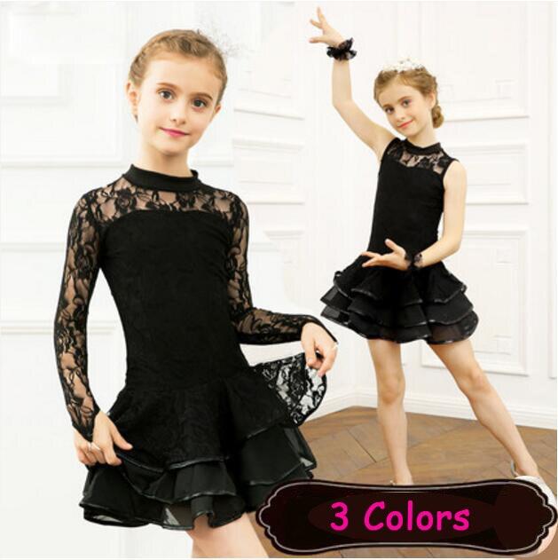 Lace Sequin Kids Newest Sexy Ballroom Dresses Tango Salsa Latin Dance Dress Children Red Black Lace Dress For Girls Long Sleeve
