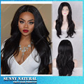 Free Shipping African American Wig Natural Black Long Natural Wave Synthetic Lace Front Wigs For Black Women Wholesale Price
