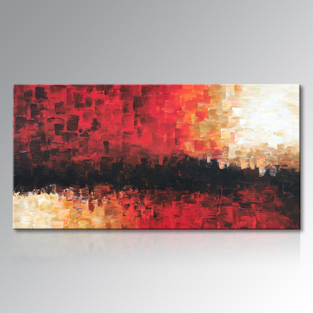 Framed Hand Painted Red Abstract Canvas Wall Art Modern Oil Painting ...