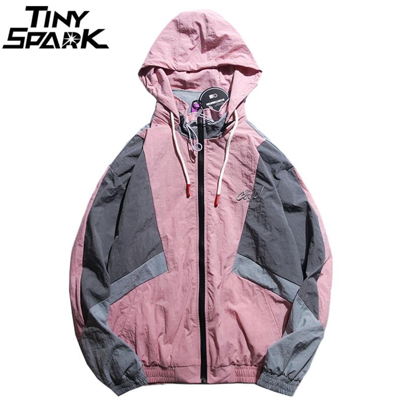 Men Hip Hop Hooded Windbreaker Jacket Vintage Pink Color Block Jacket Coat Streetwear Autumn 2018 Casual Track Jacket Embroidery