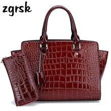 Womens Large Handbags Sets Crocodile Luxury Women Bags Designer Lady Shoulder Crossbody Female 2019 Big Tote With Wallet