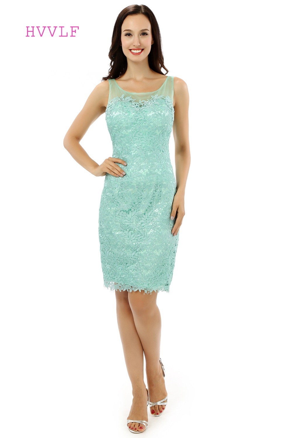 Vintage 2019   Cocktail     Dresses   Sheath Scoop Knee Length Appliques Lace Mint Green Short Homecoming   Dresses