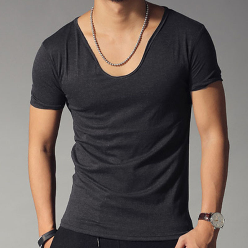 T shirt men fashion solid color slim fit cool short sleeve for Plain colored v neck t shirts