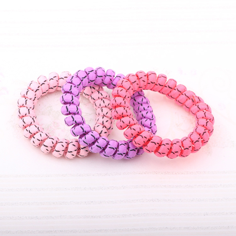 Wholesale 3 Pcs Telephone Wire Hair Band Wrapped Cloth Ponytail Holder Elastic Phone Cord Line Hair Tie Hair Accessories