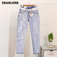 Jeans Female Spring 2019 New Europeans Nail Pearl Embroidery Sequins Slim Small footed Pencil Pants Girls Ladies Vintage Jeans