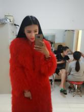 Whole leather beach wool fur coat long section of women fur one beach wool jacket round neck warm