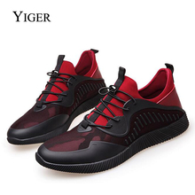 YIGER NEW Men Casual Sneakers Shoes Breathable Footwear Lightweight Flats loafers Lace-Up free shipping  0028