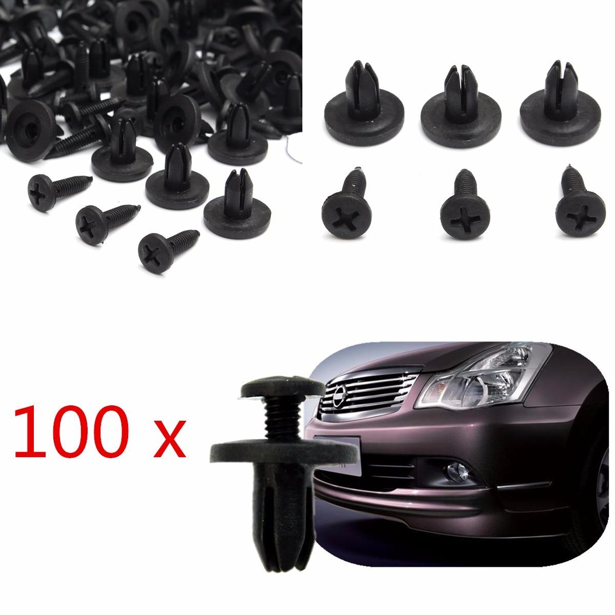 100pcs/lot Auto 6mm Hole Dia Plastic Rivets Fastener Bumper Push Pin Clips Universal