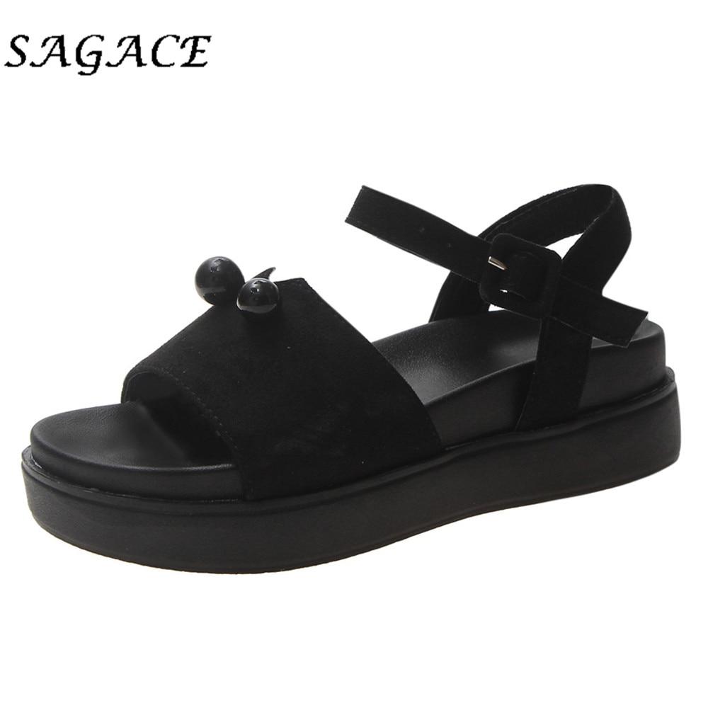 SAGACE Sandals Wedge Shoes Platform-Buckle Rubber Open-Toe Women Roman Laides