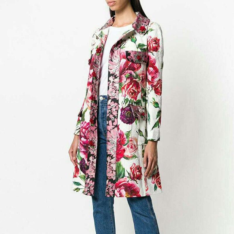 3f09b288870f6 Manteau Rose Piste Pardessus Automne Femmes Boutons Élégant Moyen Imprimé  Fleur Designer Pour 2019 Coat Long Haute Trench Qualité p8dx6g8
