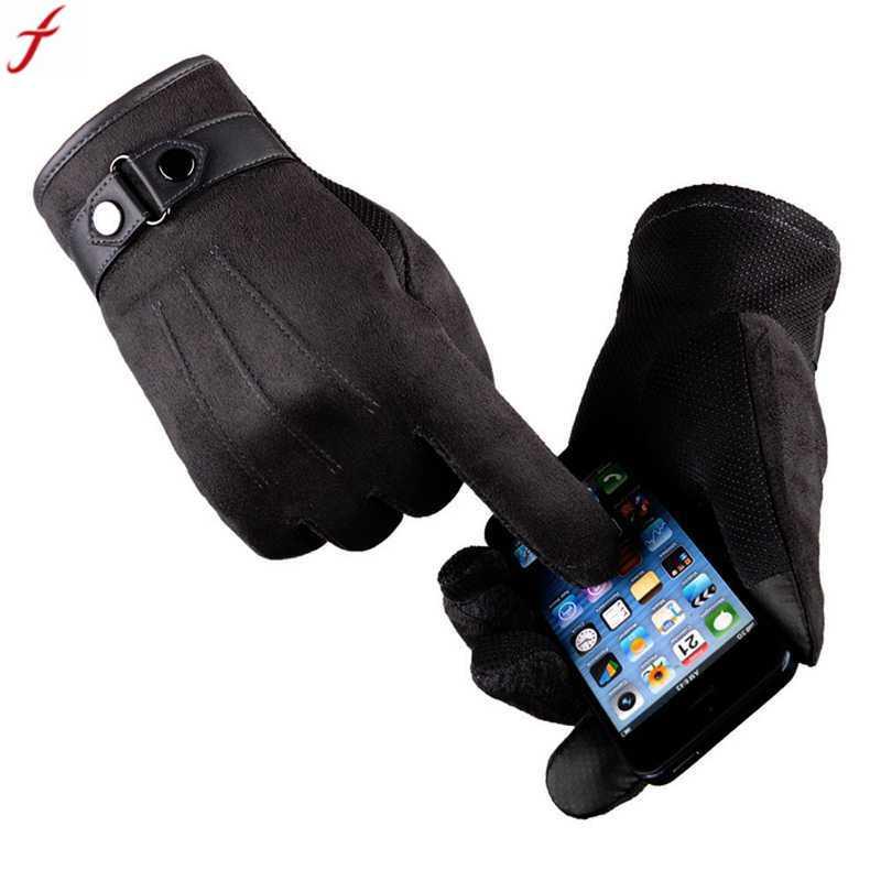 2017 winter gloves men Faux suede Leather Full finger Anti Slip Warm Gloves Winter Autumn Men Mitten
