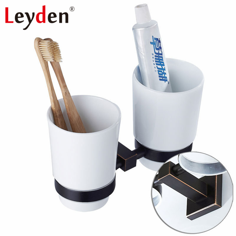 Leyden New Brass Oil Rubbed Bronze Double Toothbrush Tumbler Holder Wall Mounted Toothbrush Holder with Cup Bathroom Accessories black oil rubbed bronze wall mounted toothbrush holder with two ceramic cups wba472