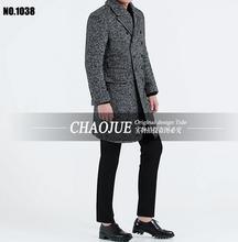 Зимние пальто мужской Моды Тонкий Средней длины Шерстяные Пальто Большой Лацкане Шерстяное пальто пальто S-5XL бесплатная доставка
